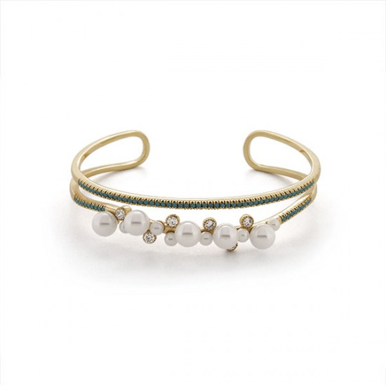 Allure Pearl Turquoise Gold Bracelet